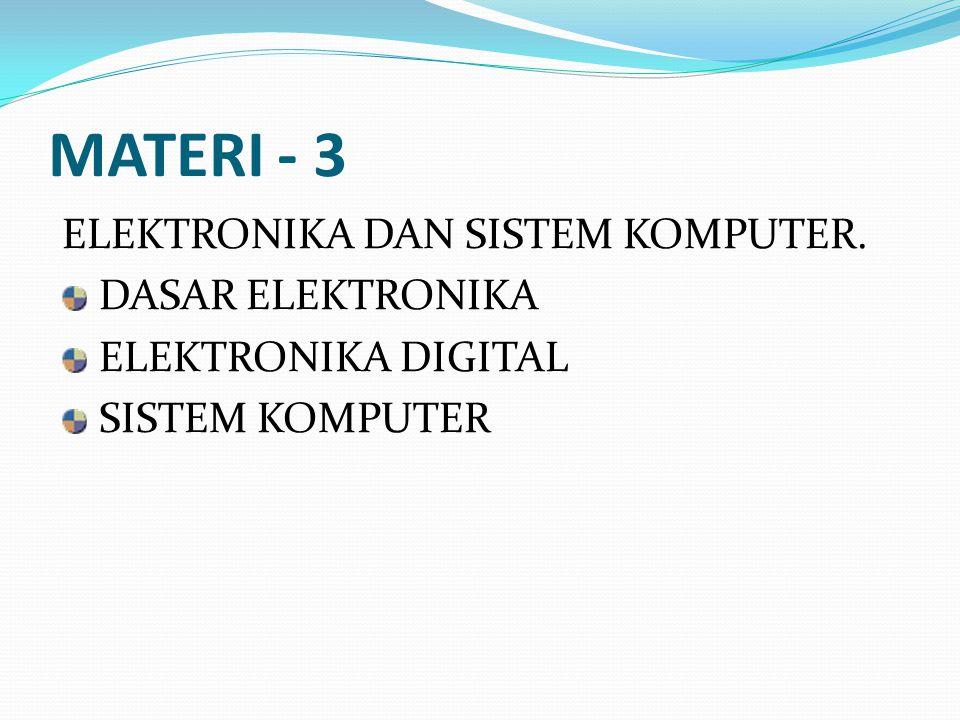 MATERI - 3 ELEKTRONIKA DAN SISTEM KOMPUTER. DASAR ELEKTRONIKA ELEKTRONIKA DIGITAL SISTEM KOMPUTER