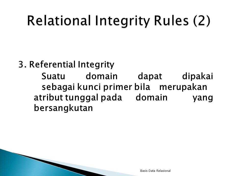 3. Referential Integrity Suatu domain dapat dipakai sebagai kunci primer bila merupakan atribut tunggal pada domain yang bersangkutan Basis Data Relas