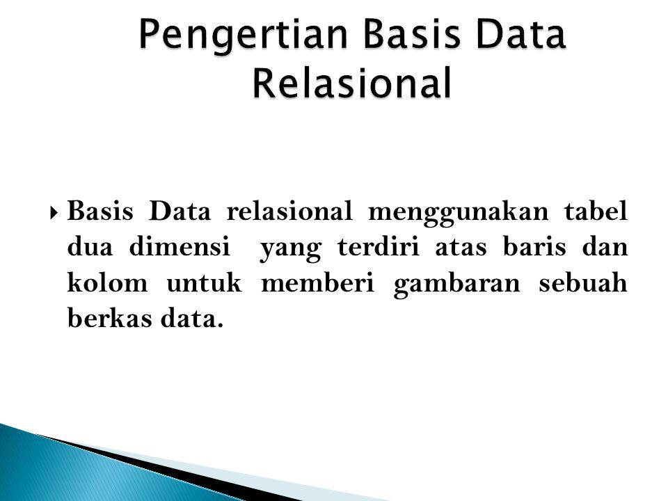  Basis Data relasional menggunakan tabel dua dimensi yang terdiri atas baris dan kolom untuk memberi gambaran sebuah berkas data.