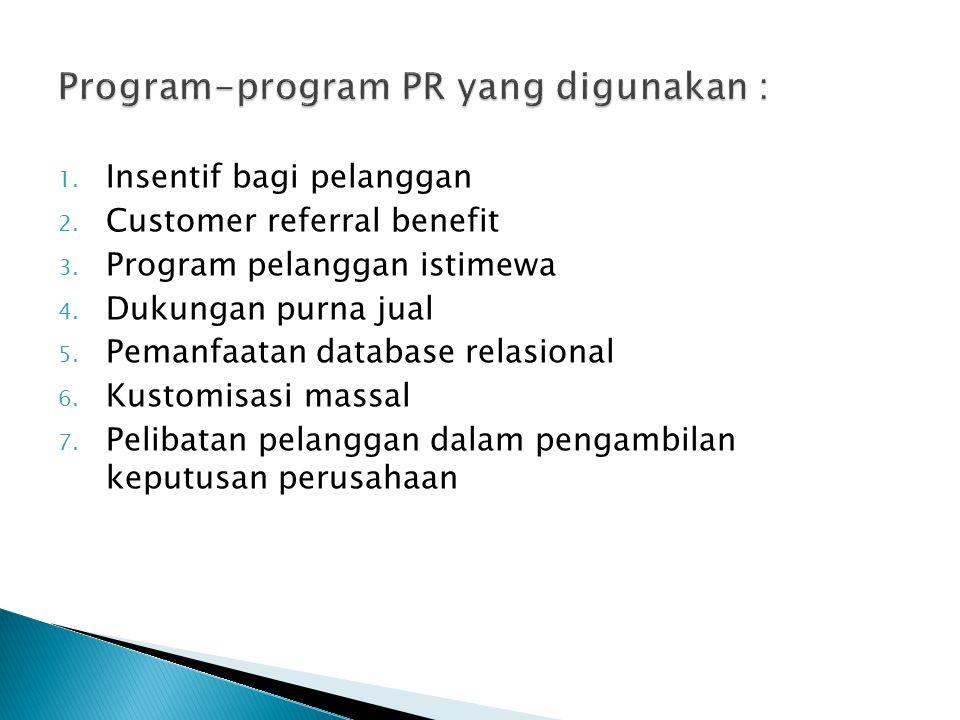 1. Insentif bagi pelanggan 2. Customer referral benefit 3. Program pelanggan istimewa 4. Dukungan purna jual 5. Pemanfaatan database relasional 6. Kus