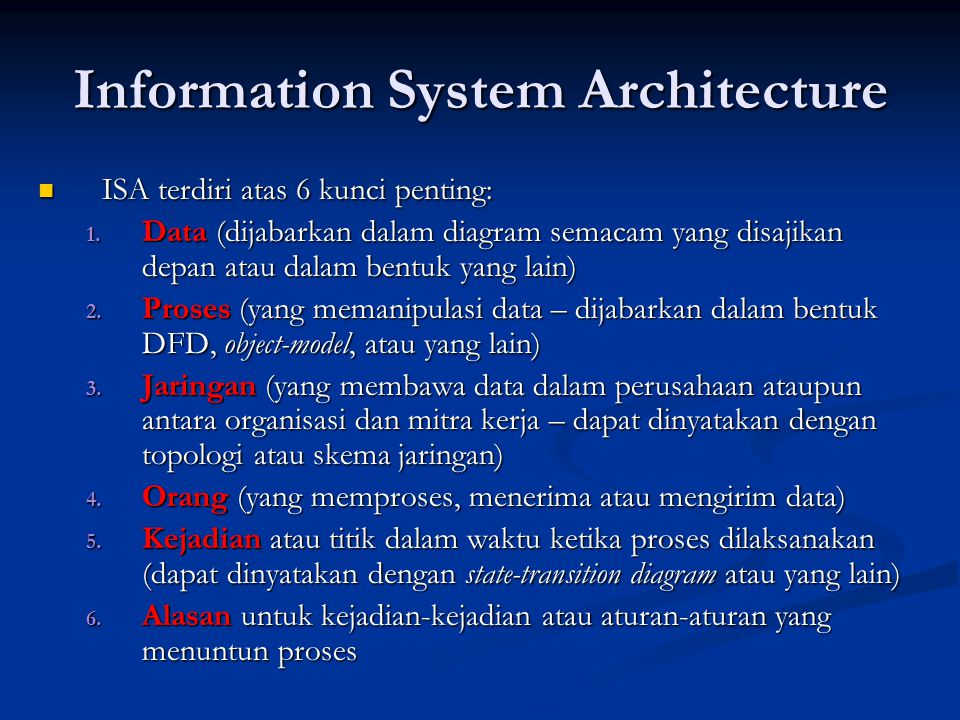 Information System Architecture ISA terdiri atas 6 kunci penting: ISA terdiri atas 6 kunci penting: 1.