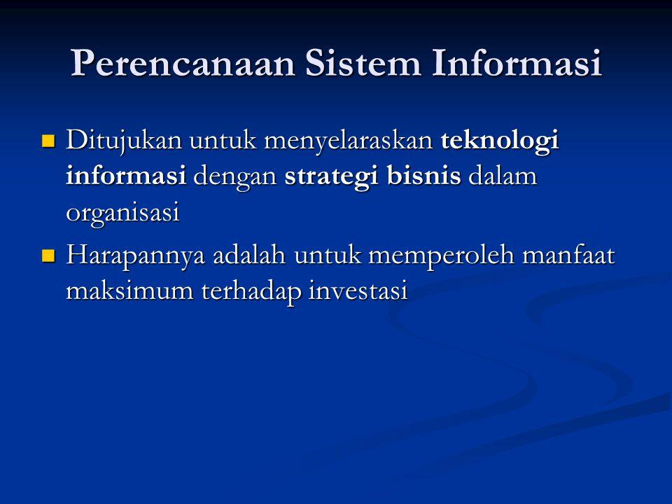 Perencanaan Sistem Informasi Ditujukan untuk menyelaraskan teknologi informasi dengan strategi bisnis dalam organisasi Ditujukan untuk menyelaraskan t