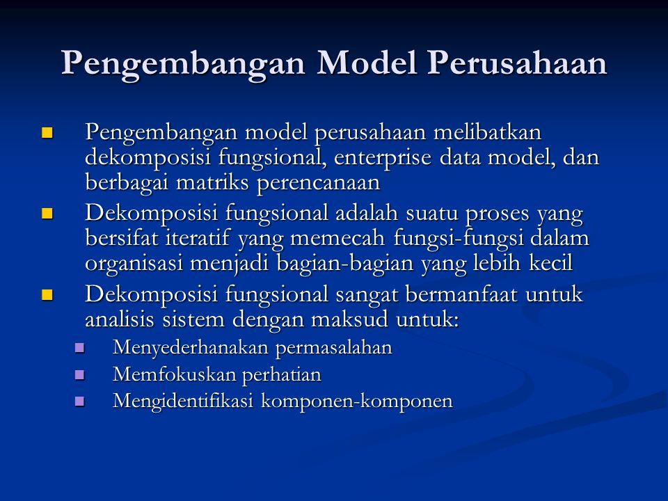 Pengembangan Model Perusahaan Pengembangan model perusahaan melibatkan dekomposisi fungsional, enterprise data model, dan berbagai matriks perencanaan