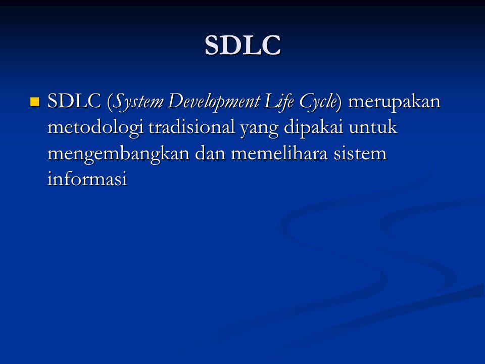 SDLC SDLC (System Development Life Cycle) merupakan metodologi tradisional yang dipakai untuk mengembangkan dan memelihara sistem informasi SDLC (Syst