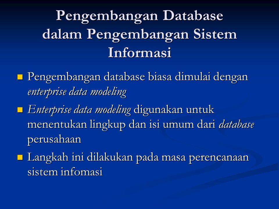 Pengembangan Database dalam Pengembangan Sistem Informasi Pengembangan database biasa dimulai dengan enterprise data modeling Pengembangan database bi