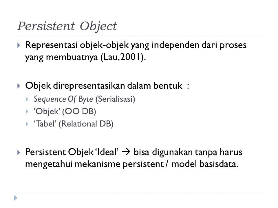 Persistent Object  Representasi objek-objek yang independen dari proses yang membuatnya (Lau,2001).  Objek direpresentasikan dalam bentuk :  Sequen