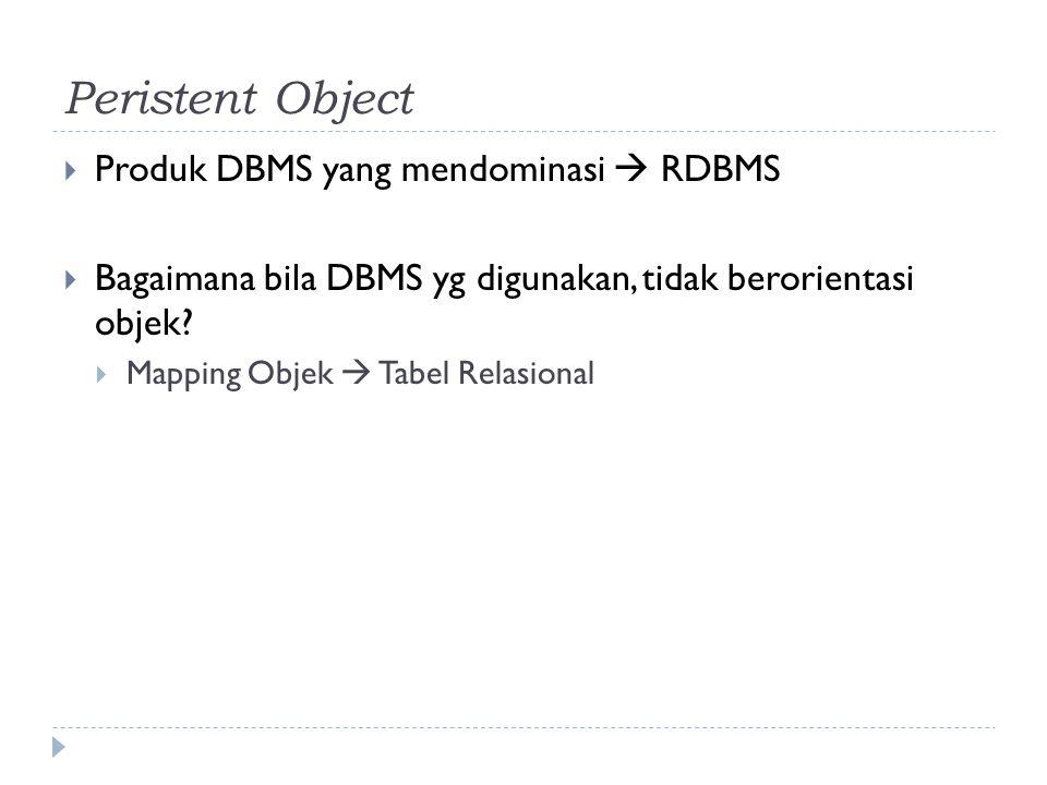 Peristent Object  Produk DBMS yang mendominasi  RDBMS  Bagaimana bila DBMS yg digunakan, tidak berorientasi objek?  Mapping Objek  Tabel Relasion