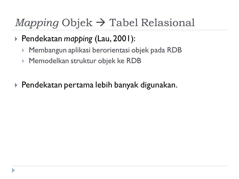 Mapping Objek  Tabel Relasional  Pendekatan mapping (Lau, 2001):  Membangun aplikasi berorientasi objek pada RDB  Memodelkan struktur objek ke RDB