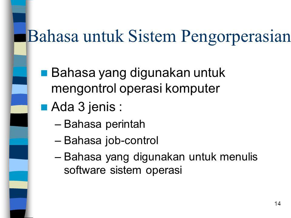 14 Bahasa untuk Sistem Pengorperasian Bahasa yang digunakan untuk mengontrol operasi komputer Ada 3 jenis : –Bahasa perintah –Bahasa job-control –Bahasa yang digunakan untuk menulis software sistem operasi