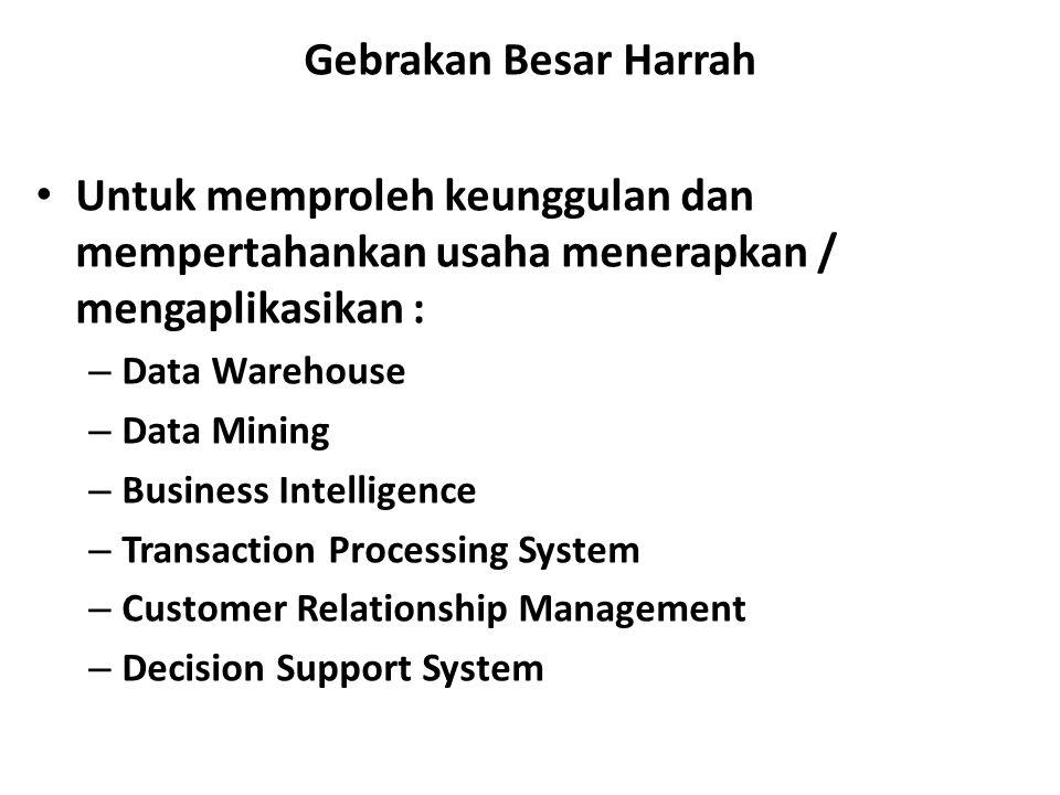 Gebrakan Besar Harrah Untuk memproleh keunggulan dan mempertahankan usaha menerapkan / mengaplikasikan : – Data Warehouse – Data Mining – Business Intelligence – Transaction Processing System – Customer Relationship Management – Decision Support System