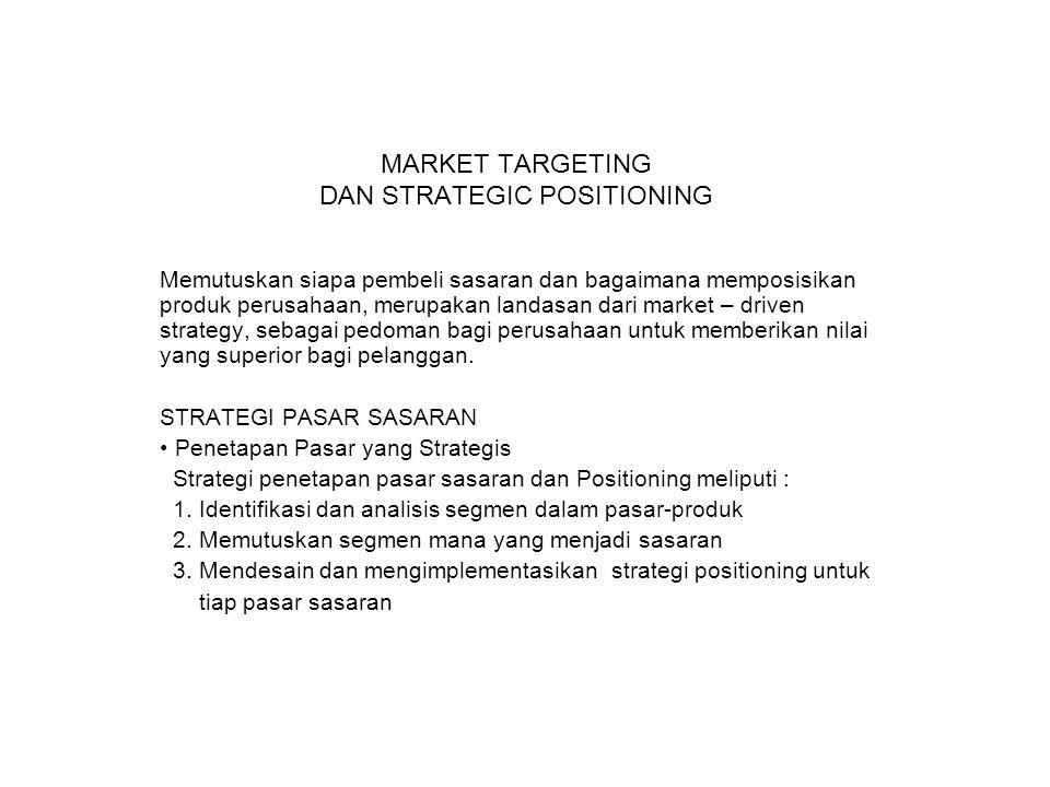 MARKET TARGETING DAN STRATEGIC POSITIONING Memutuskan siapa pembeli sasaran dan bagaimana memposisikan produk perusahaan, merupakan landasan dari mark