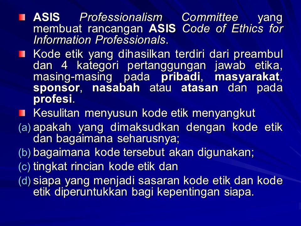 ASIS Professionalism Committee yang membuat rancangan ASIS Code of Ethics for Information Professionals. Kode etik yang dihasilkan terdiri dari preamb