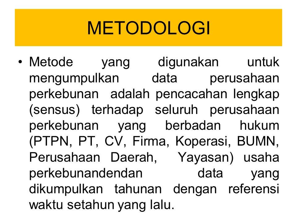 METODOLOGI Metode yang digunakan untuk mengumpulkan data perusahaan perkebunan adalah pencacahan lengkap (sensus) terhadap seluruh perusahaan perkebunan yang berbadan hukum (PTPN, PT, CV, Firma, Koperasi, BUMN, Perusahaan Daerah, Yayasan) usaha perkebunandendan data yang dikumpulkan tahunan dengan referensi waktu setahun yang lalu.