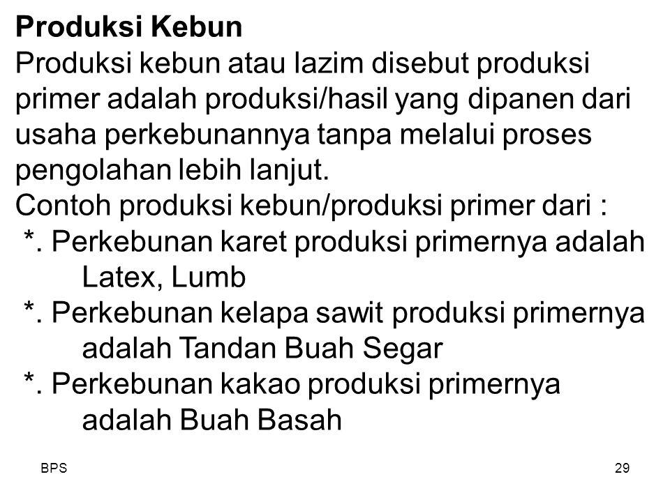 BPS29 Produksi Kebun Produksi kebun atau lazim disebut produksi primer adalah produksi/hasil yang dipanen dari usaha perkebunannya tanpa melalui proses pengolahan lebih lanjut.
