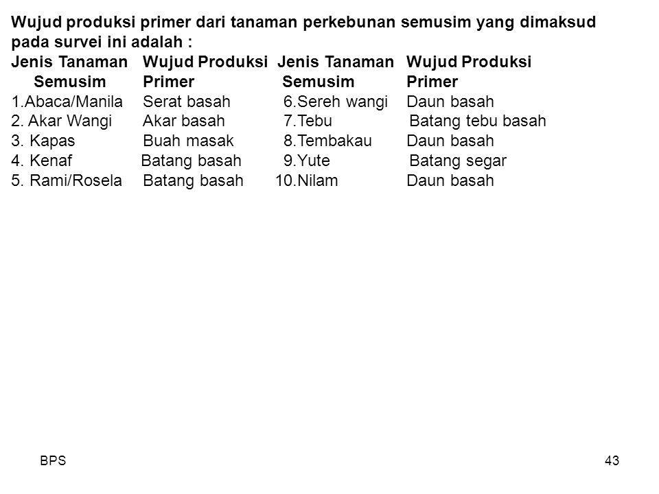 BPS43 Wujud produksi primer dari tanaman perkebunan semusim yang dimaksud pada survei ini adalah : Jenis TanamanWujud Produksi SemusimPrimer SemusimPrimer 1.Abaca/ManilaSerat basah 6.Sereh wangiDaun basah 2.