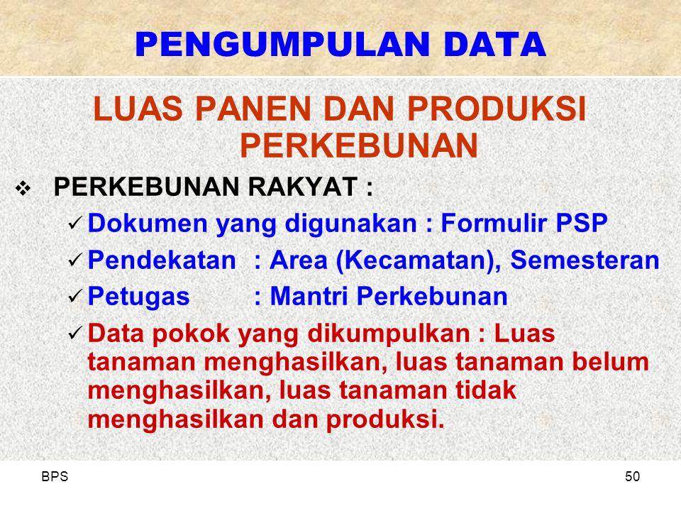 BPS50 LUAS PANEN DAN PRODUKSI PERKEBUNAN  PERKEBUNAN RAKYAT : Dokumen yang digunakan : Formulir PSP Pendekatan: Area (Kecamatan), Semesteran Petugas