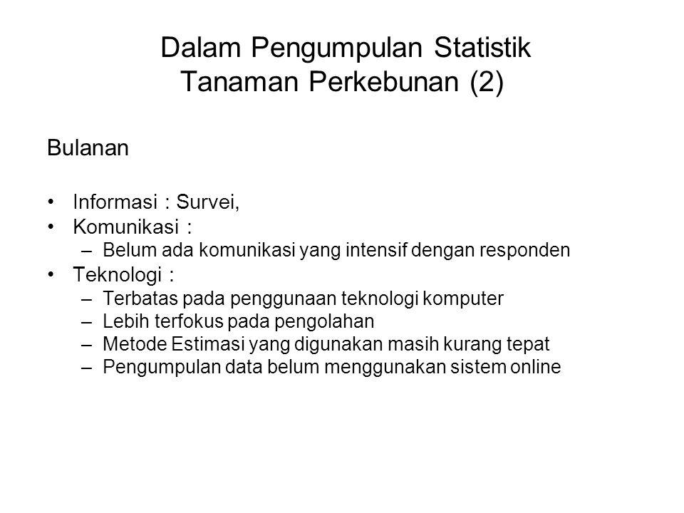 Dalam Pengumpulan Statistik Tanaman Perkebunan (2) Bulanan Informasi : Survei, Komunikasi : –Belum ada komunikasi yang intensif dengan responden Tekno