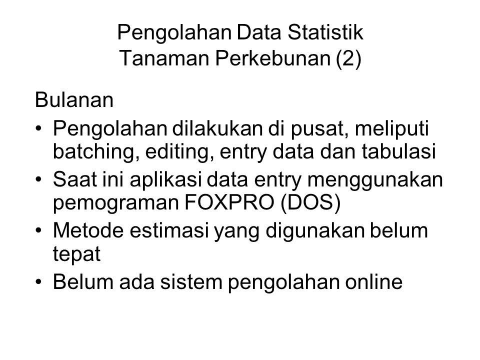 Pengolahan Data Statistik Tanaman Perkebunan (2) Bulanan Pengolahan dilakukan di pusat, meliputi batching, editing, entry data dan tabulasi Saat ini a