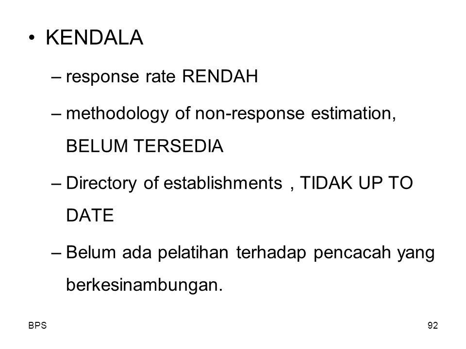 KENDALA –response rate RENDAH –methodology of non-response estimation, BELUM TERSEDIA –Directory of establishments, TIDAK UP TO DATE –Belum ada pelatihan terhadap pencacah yang berkesinambungan.