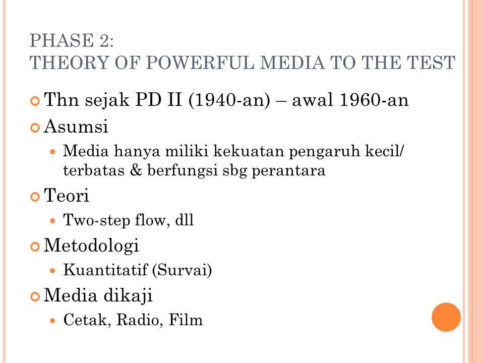 PHASE 2: THEORY OF POWERFUL MEDIA TO THE TEST Thn sejak PD II (1940-an) – awal 1960-an Asumsi Media hanya miliki kekuatan pengaruh kecil/ terbatas & b