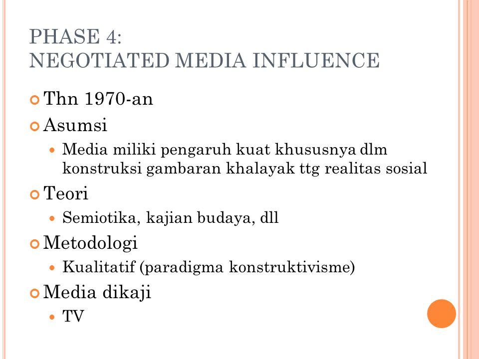 PHASE 4: NEGOTIATED MEDIA INFLUENCE Thn 1970-an Asumsi Media miliki pengaruh kuat khususnya dlm konstruksi gambaran khalayak ttg realitas sosial Teori
