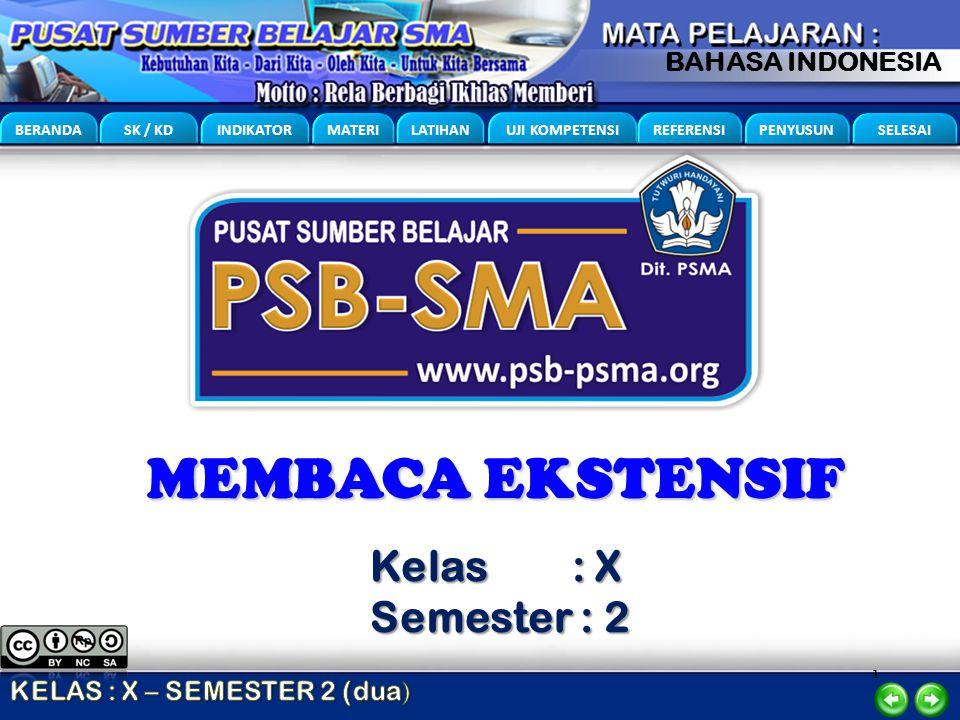 1 BERANDA SK / KD INDIKATOR MATERI LATIHAN UJI KOMPETENSI REFERENSI PENYUSUN SELESAI BAHASA INDONESIA MEMBACA EKSTENSIF Kelas : X Semester : 2