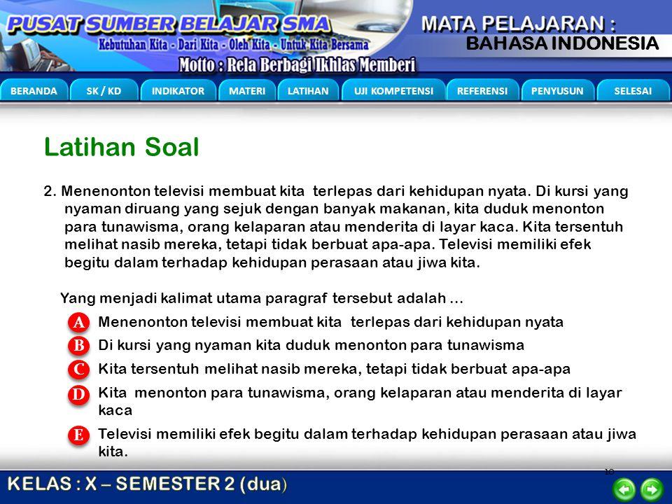 10 BERANDA SK / KD INDIKATOR MATERI LATIHAN UJI KOMPETENSI REFERENSI PENYUSUN SELESAI BAHASA INDONESIA Latihan Soal 2. Menenonton televisi membuat kit