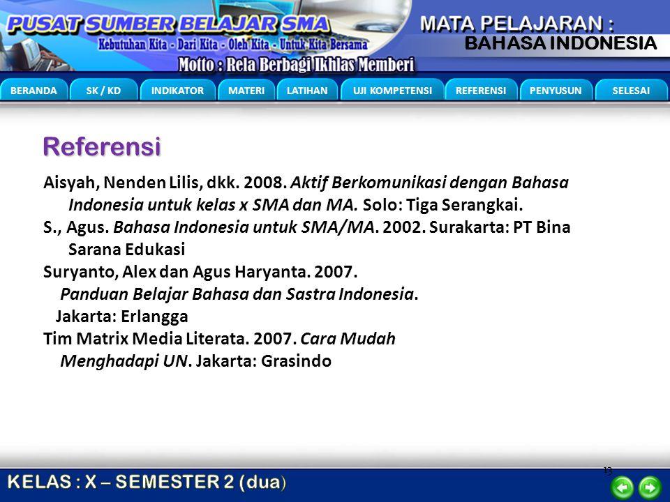 13 BERANDA SK / KD INDIKATOR MATERI LATIHAN UJI KOMPETENSI REFERENSI PENYUSUN SELESAI BAHASA INDONESIA Referensi Aisyah, Nenden Lilis, dkk. 2008. Akti