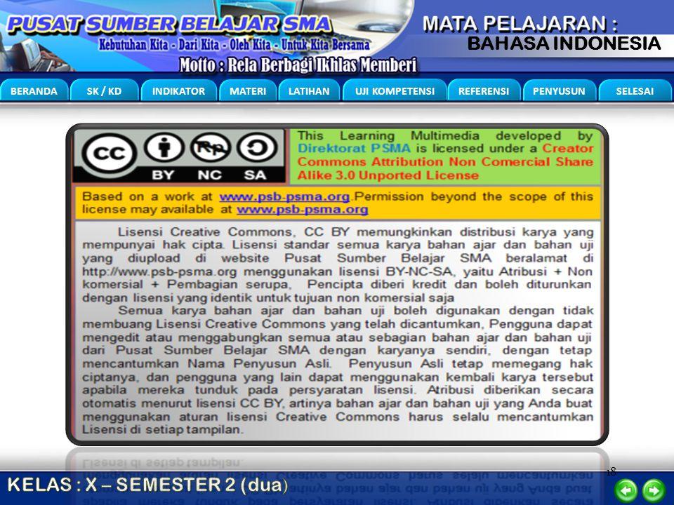18 BERANDA SK / KD INDIKATOR MATERI LATIHAN UJI KOMPETENSI REFERENSI PENYUSUN SELESAI BAHASA INDONESIA