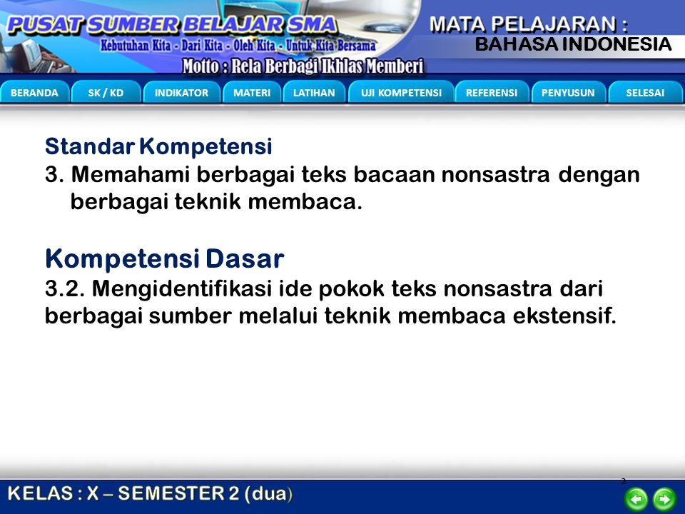 2 BERANDA SK / KD INDIKATOR MATERI LATIHAN UJI KOMPETENSI REFERENSI PENYUSUN SELESAI BAHASA INDONESIA Standar Kompetensi 3. Memahami berbagai teks bac