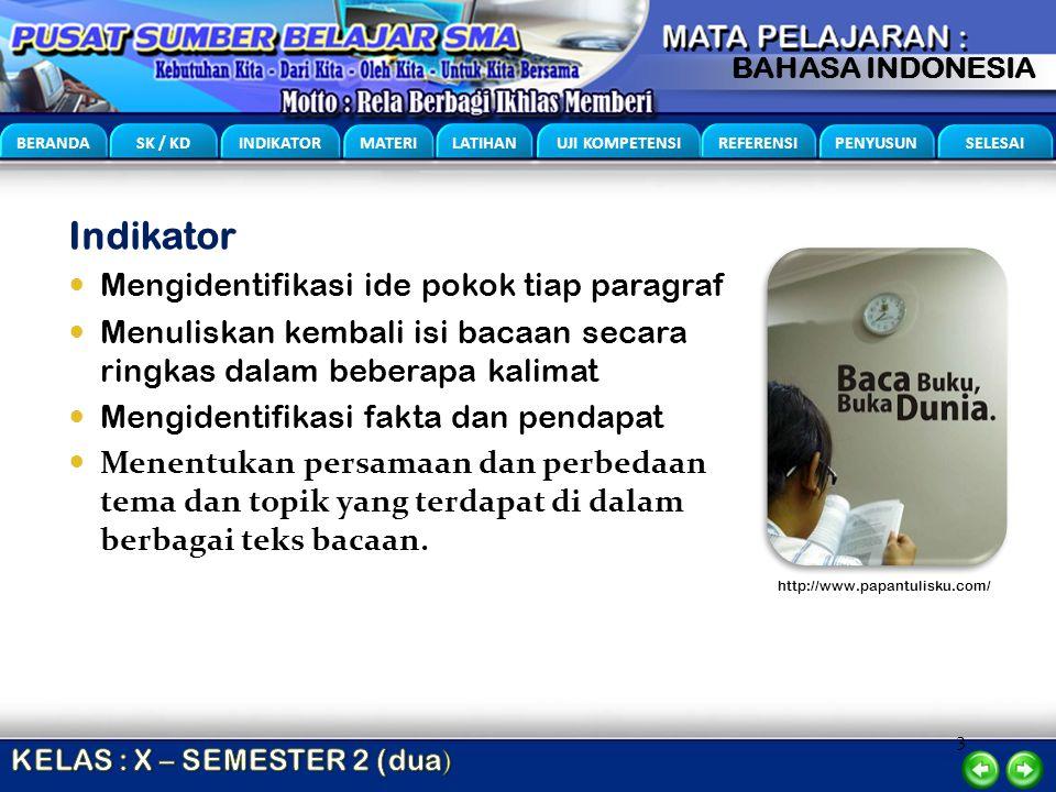 3 BERANDA SK / KD INDIKATOR MATERI LATIHAN UJI KOMPETENSI REFERENSI PENYUSUN SELESAI BAHASA INDONESIA Indikator Mengidentifikasi ide pokok tiap paragr