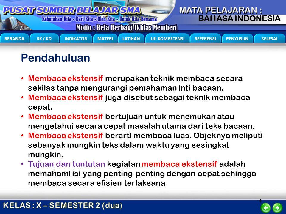 4 BERANDA SK / KD INDIKATOR MATERI LATIHAN UJI KOMPETENSI REFERENSI PENYUSUN SELESAI BAHASA INDONESIA Pendahuluan Membaca ekstensif merupakan teknik m