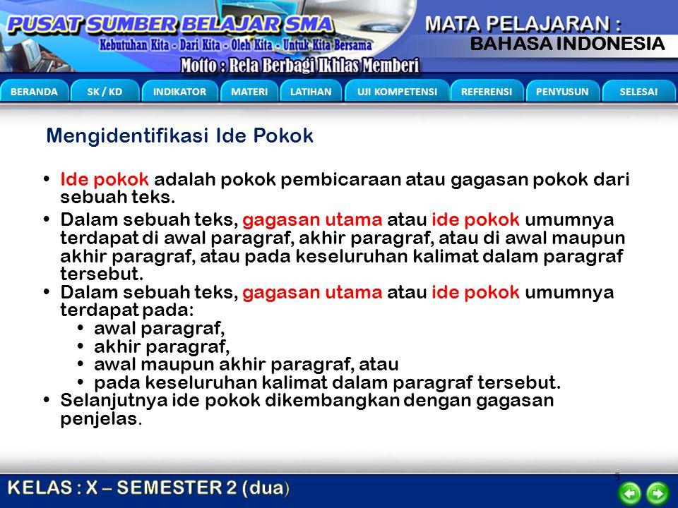 5 BERANDA SK / KD INDIKATOR MATERI LATIHAN UJI KOMPETENSI REFERENSI PENYUSUN SELESAI BAHASA INDONESIA Mengidentifikasi Ide Pokok Ide pokok adalah poko