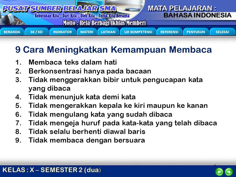 7 BERANDA SK / KD INDIKATOR MATERI LATIHAN UJI KOMPETENSI REFERENSI PENYUSUN SELESAI BAHASA INDONESIA 9 Cara Meningkatkan Kemampuan Membaca 1. Membaca