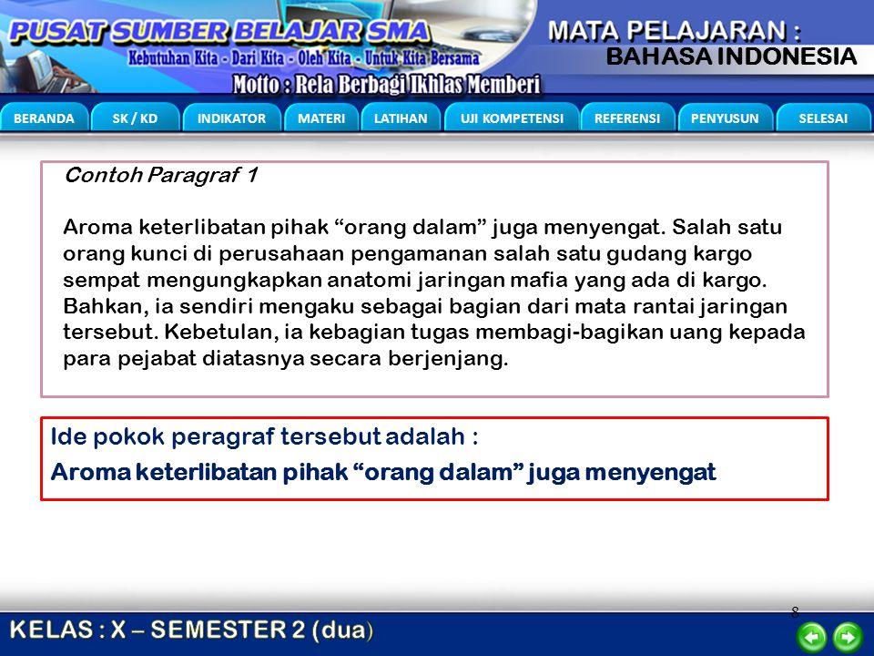 """8 BERANDA SK / KD INDIKATOR MATERI LATIHAN UJI KOMPETENSI REFERENSI PENYUSUN SELESAI BAHASA INDONESIA Contoh Paragraf 1 Aroma keterlibatan pihak """"oran"""