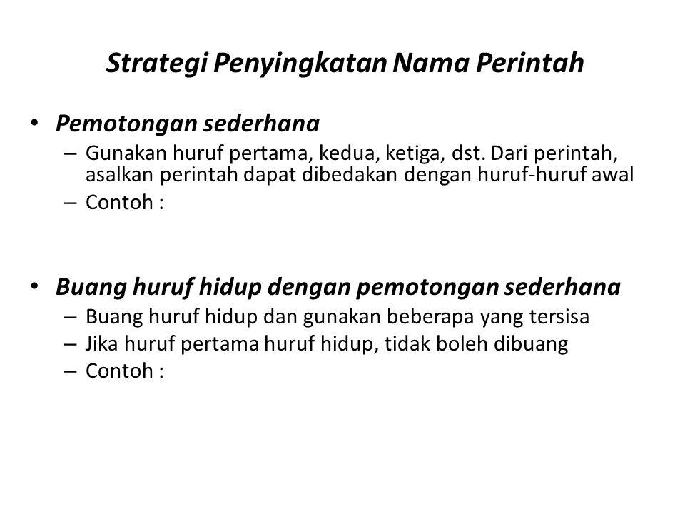 Strategi Penyingkatan Nama Perintah Pemotongan sederhana – Gunakan huruf pertama, kedua, ketiga, dst.