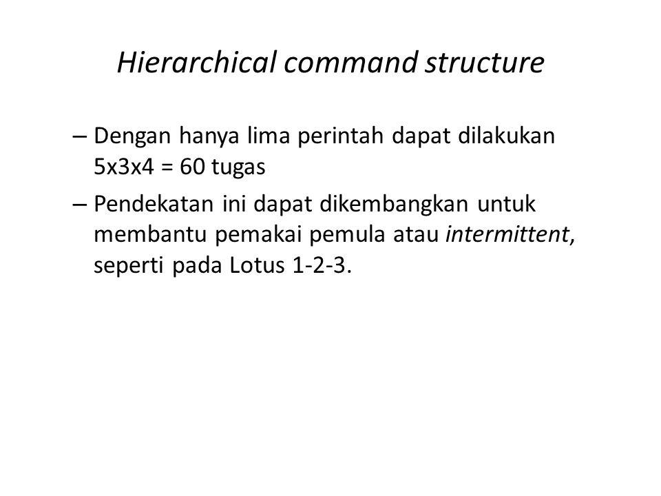 Hierarchical command structure – Dengan hanya lima perintah dapat dilakukan 5x3x4 = 60 tugas – Pendekatan ini dapat dikembangkan untuk membantu pemakai pemula atau intermittent, seperti pada Lotus 1-2-3.