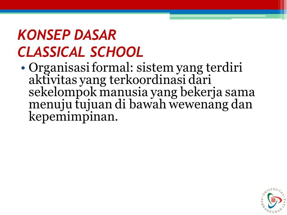 KONSEP DASAR CLASSICAL SCHOOL Organisasi formal: sistem yang terdiri aktivitas yang terkoordinasi dari sekelompok manusia yang bekerja sama menuju tuj