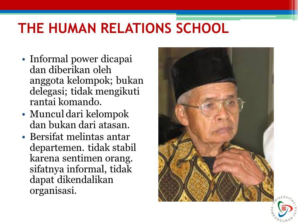 THE HUMAN RELATIONS SCHOOL Informal power dicapai dan diberikan oleh anggota kelompok; bukan delegasi; tidak mengikuti rantai komando. Muncul dari kel