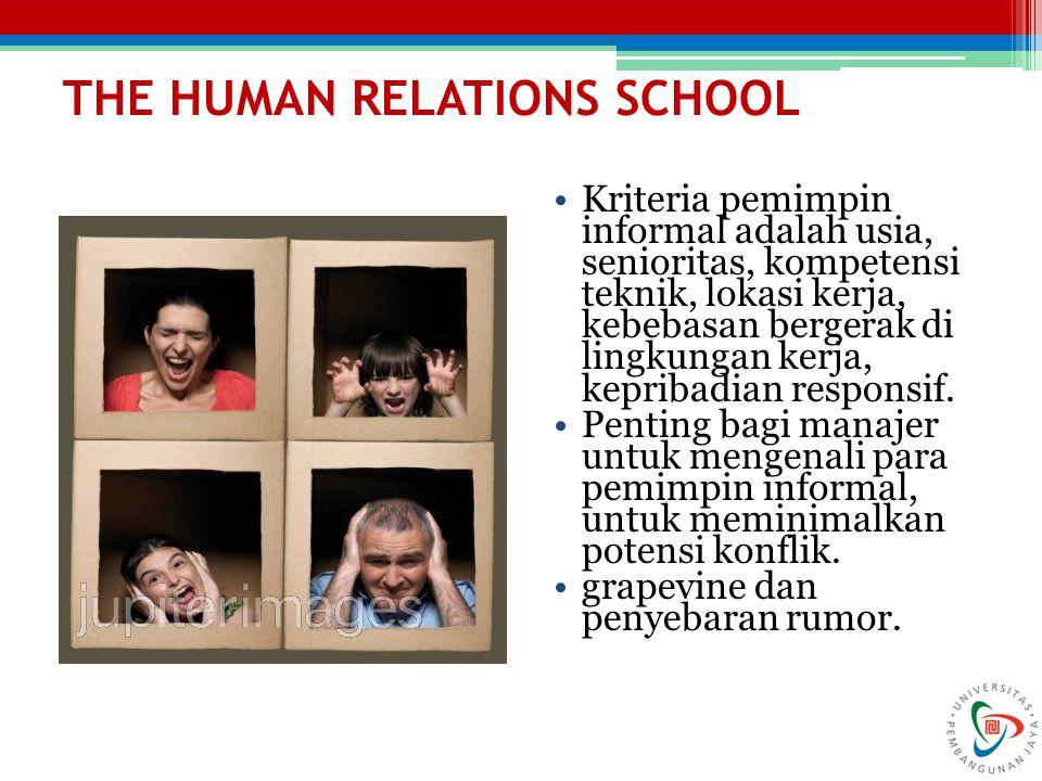 THE HUMAN RELATIONS SCHOOL Kriteria pemimpin informal adalah usia, senioritas, kompetensi teknik, lokasi kerja, kebebasan bergerak di lingkungan kerja