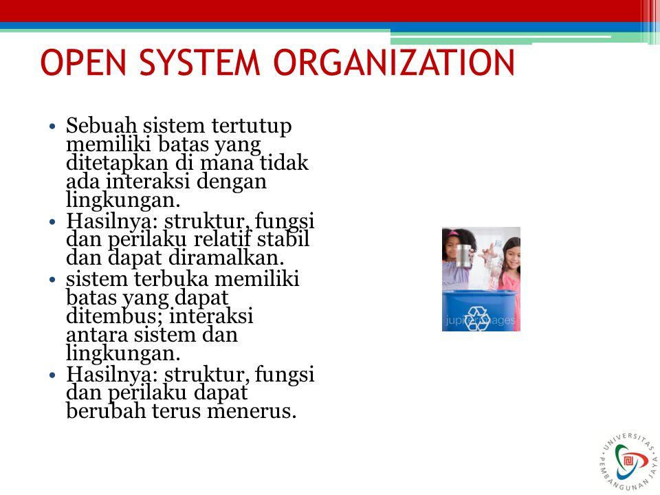 OPEN SYSTEM ORGANIZATION Sebuah sistem tertutup memiliki batas yang ditetapkan di mana tidak ada interaksi dengan lingkungan. Hasilnya: struktur, fung