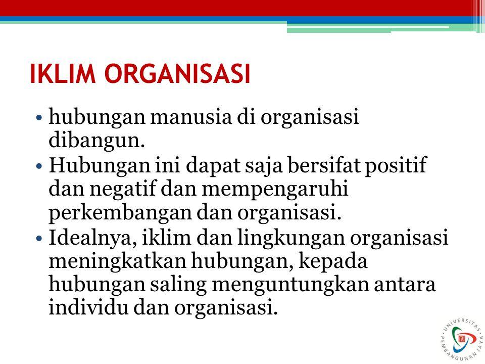 IKLIM ORGANISASI hubungan manusia di organisasi dibangun. Hubungan ini dapat saja bersifat positif dan negatif dan mempengaruhi perkembangan dan organ