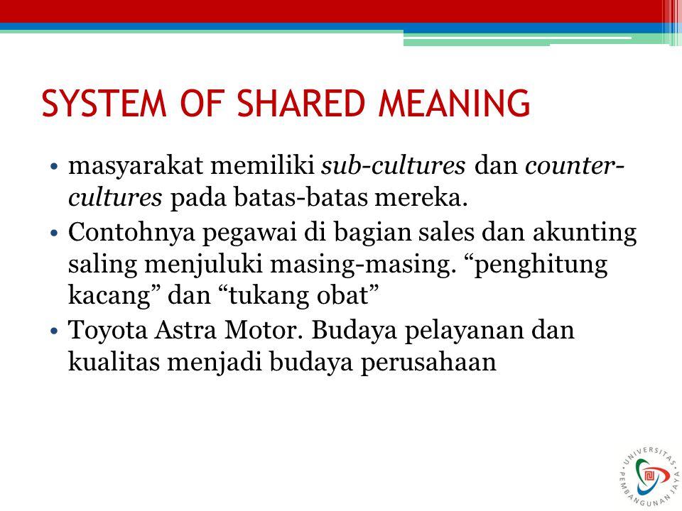 SYSTEM OF SHARED MEANING masyarakat memiliki sub-cultures dan counter- cultures pada batas-batas mereka. Contohnya pegawai di bagian sales dan akuntin