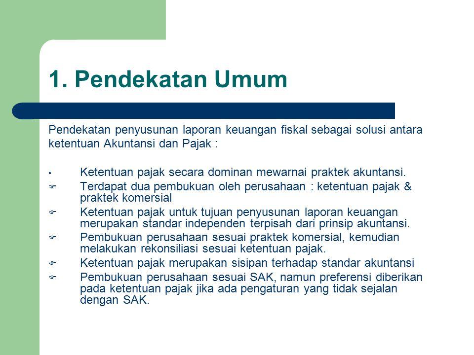1. Pendekatan Umum Pendekatan penyusunan laporan keuangan fiskal sebagai solusi antara ketentuan Akuntansi dan Pajak : Ketentuan pajak secara dominan