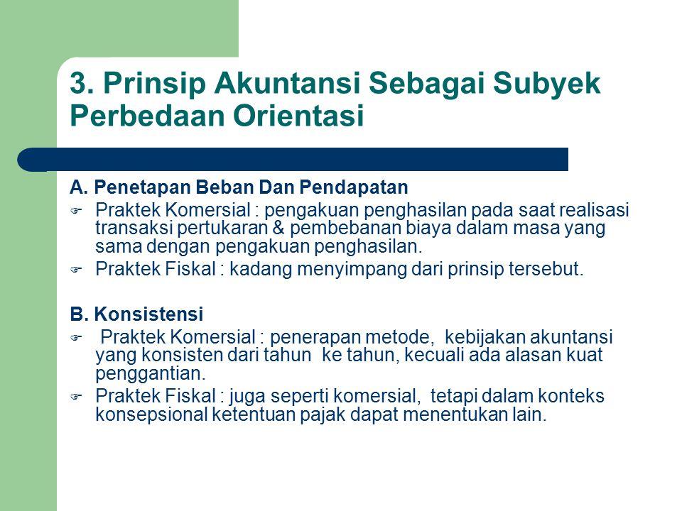 3.Prinsip Akuntansi Sebagai Subyek Perbedaan Orientasi C.