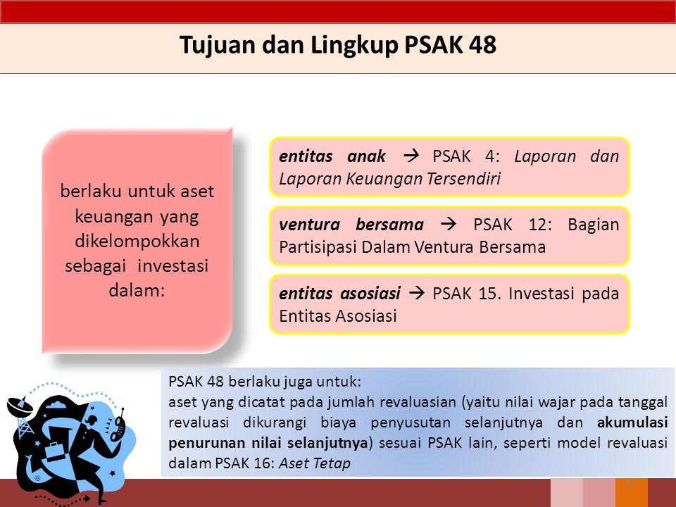 Tujuan dan Lingkup PSAK 48 10 berlaku untuk aset keuangan yang dikelompokkan sebagai investasi dalam: entitas anak  PSAK 4: Laporan dan Laporan Keuan