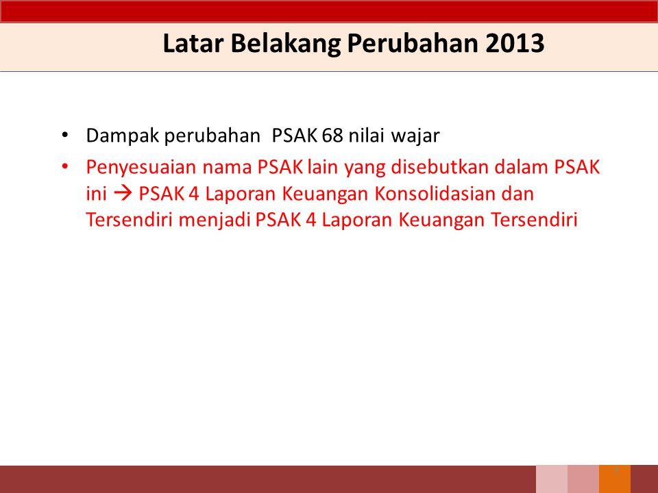 Latar Belakang Perubahan 2013 Dampak perubahan PSAK 68 nilai wajar Penyesuaian nama PSAK lain yang disebutkan dalam PSAK ini  PSAK 4 Laporan Keuangan