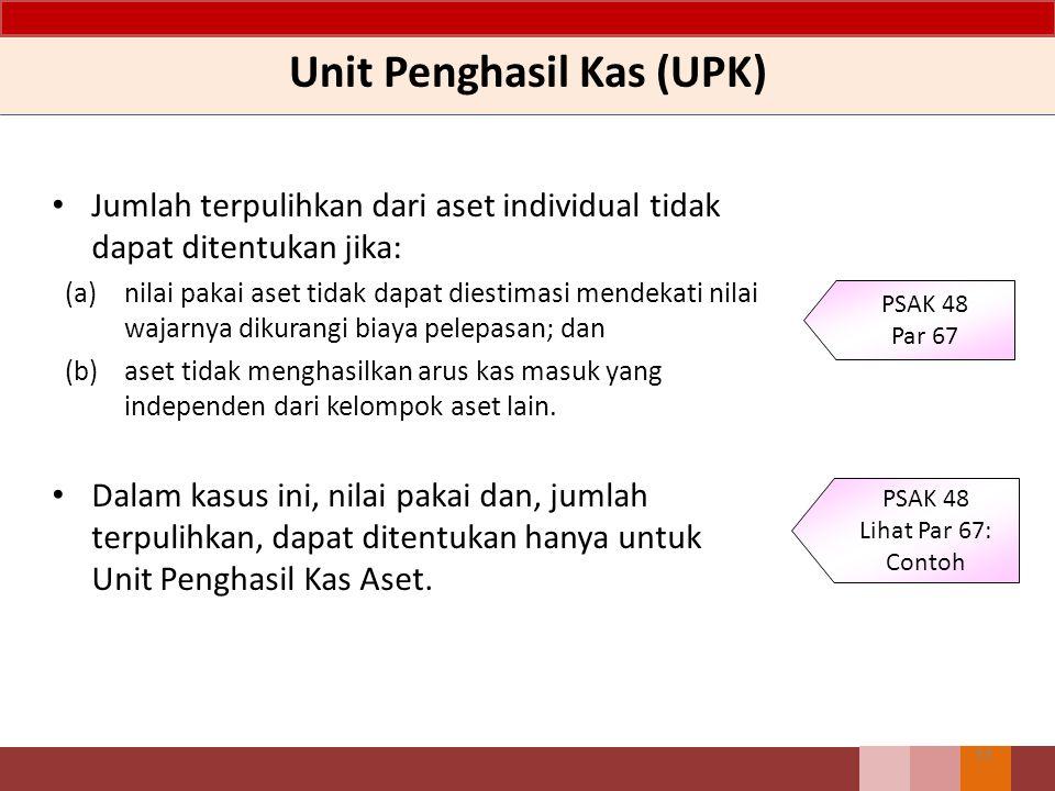 Unit Penghasil Kas (UPK) Jumlah terpulihkan dari aset individual tidak dapat ditentukan jika: (a)nilai pakai aset tidak dapat diestimasi mendekati nil