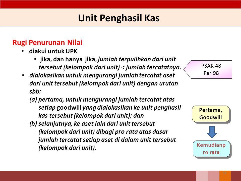 Unit Penghasil Kas 36 Rugi Penurunan Nilai diakui untuk UPK jika, dan hanya jika, jumlah terpulihkan dari unit tersebut (kelompok dari unit) < jumlah