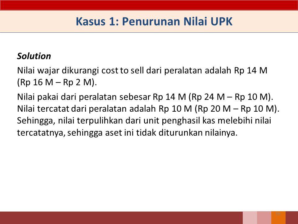 Solution Nilai wajar dikurangi cost to sell dari peralatan adalah Rp 14 M (Rp 16 M – Rp 2 M). Nilai pakai dari peralatan sebesar Rp 14 M (Rp 24 M – Rp
